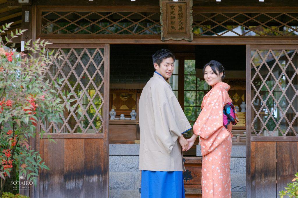 秋の京都嵐山でのカップル撮影